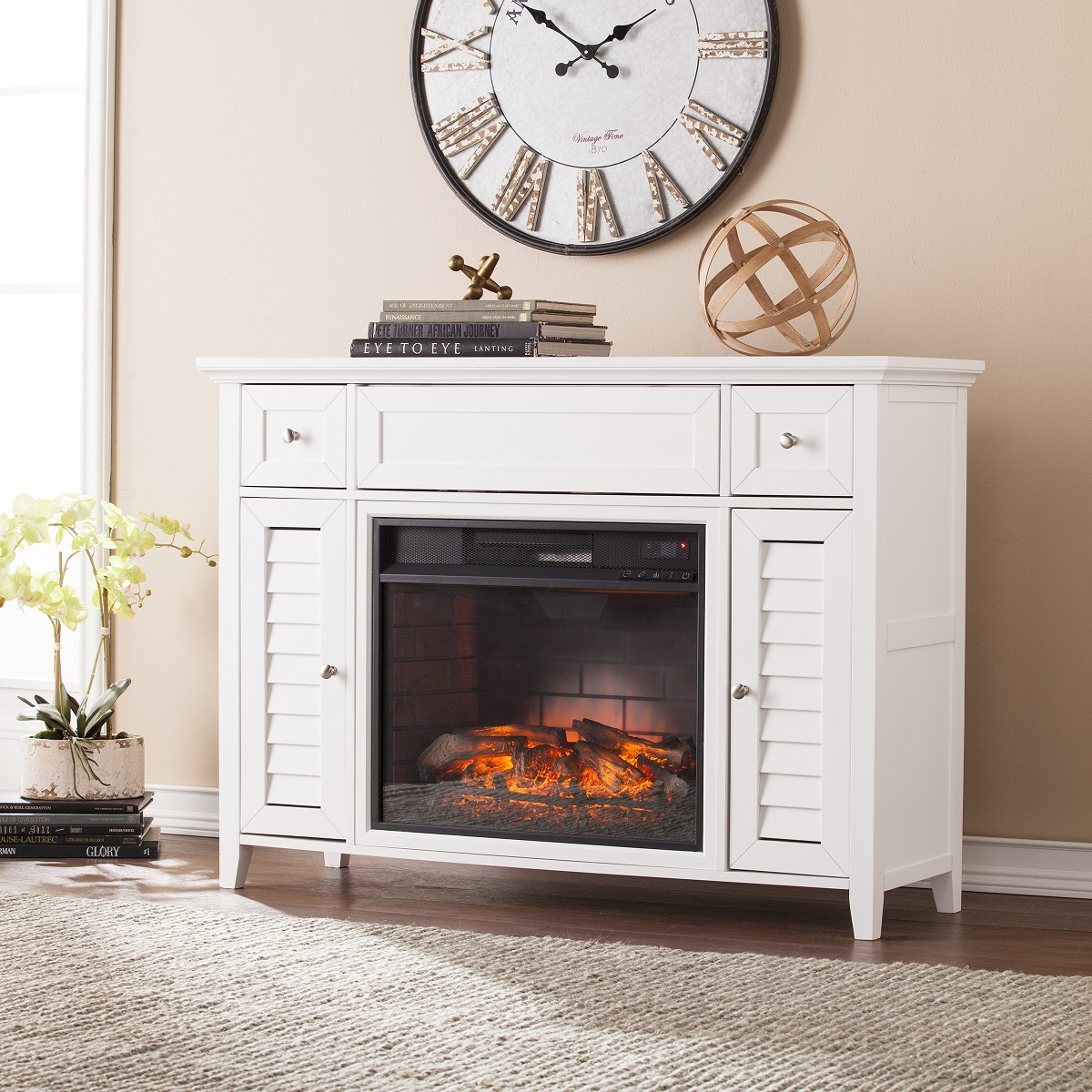 48 fairbury 3 in 1 infrared media fireplace console white. Black Bedroom Furniture Sets. Home Design Ideas