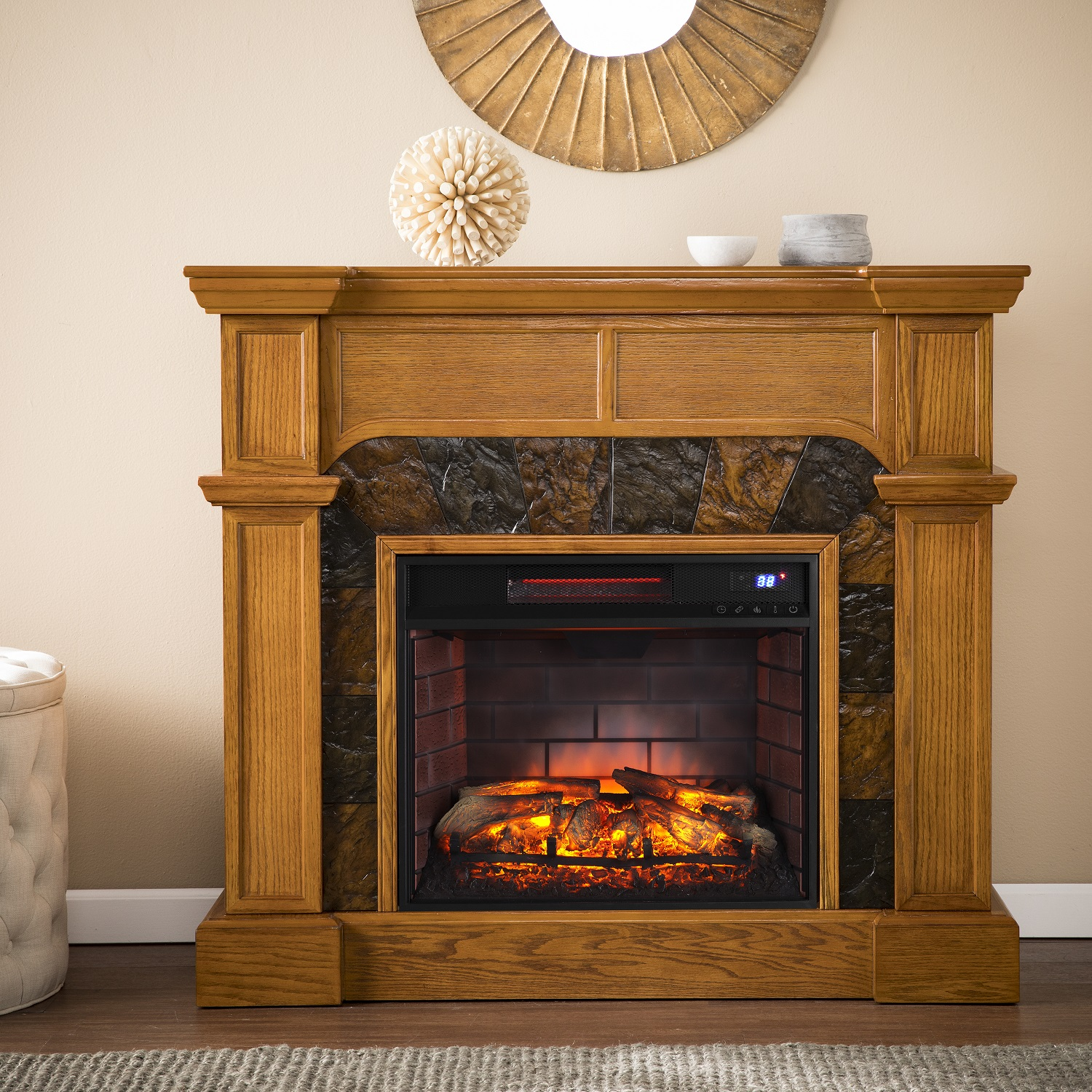 """45 5"""" Cartwright Corner Faux Stone Infrared Fireplace"""