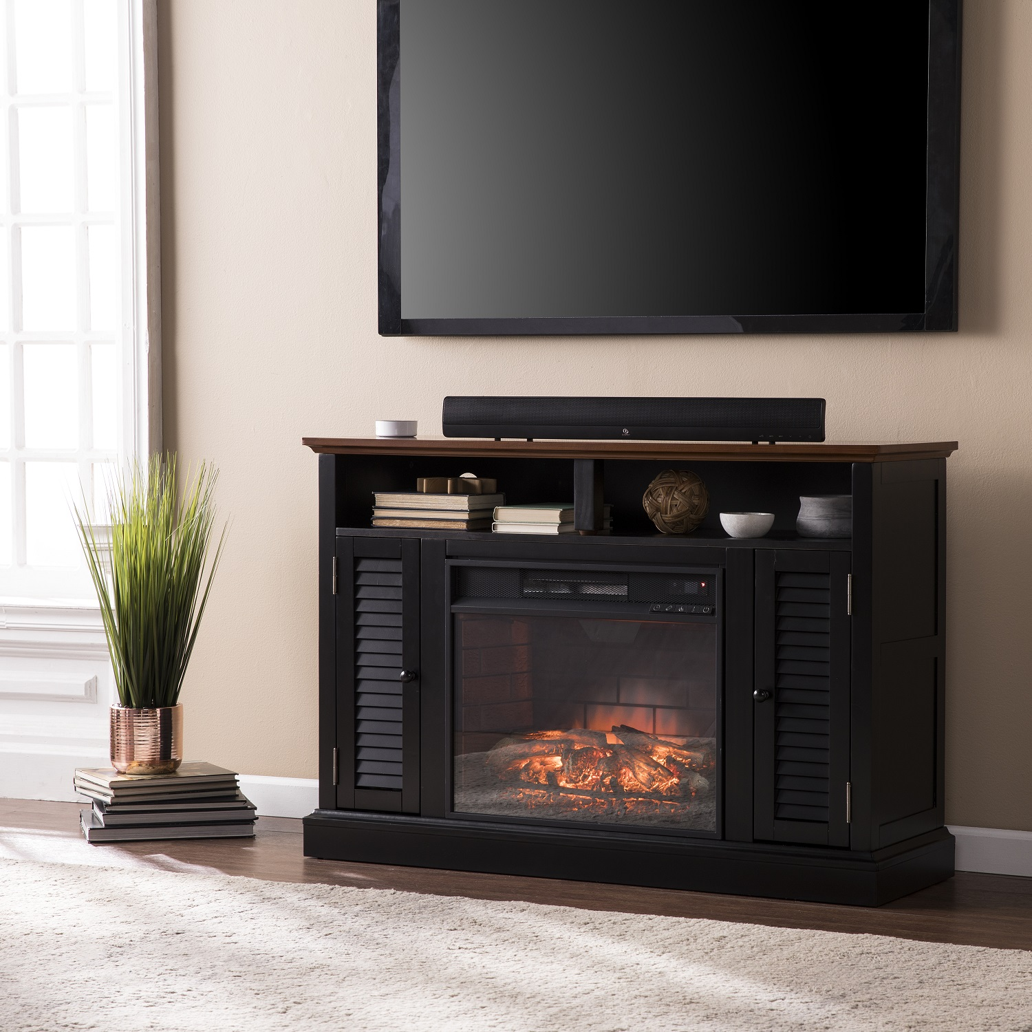 48 Quot Antebellum Media Electric Fireplace Black W Walnut