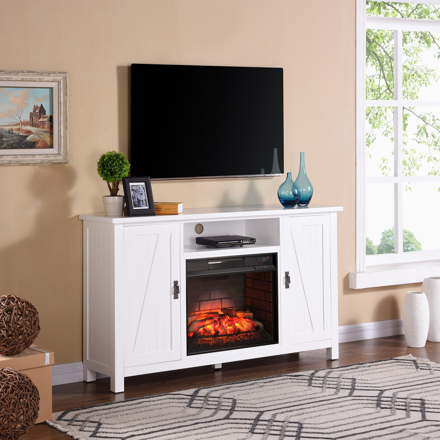 58 Quot Adderly Farmhouse Style Infrared Electric Fireplace Tv