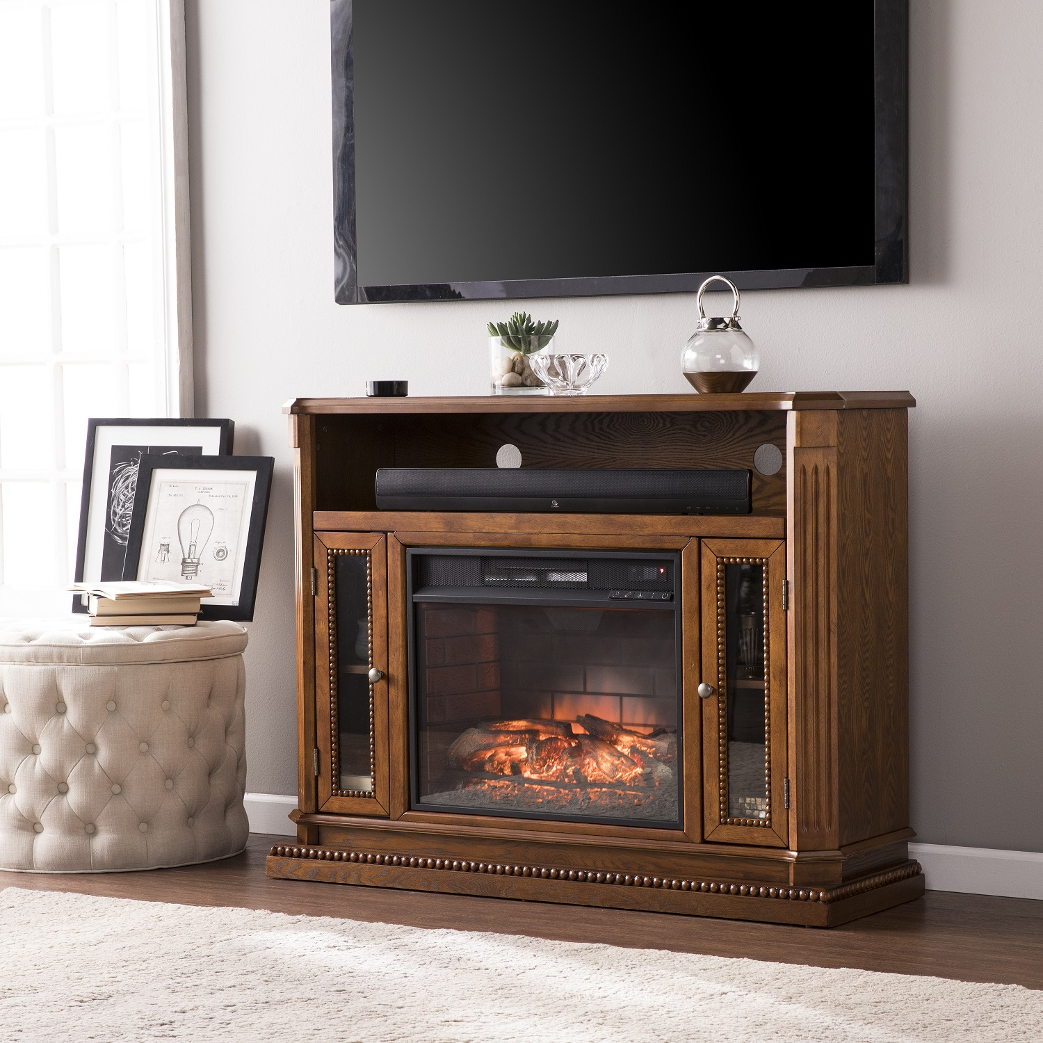 47 25 Quot Atkinson Rich Brown Oak Electric Media Fireplace