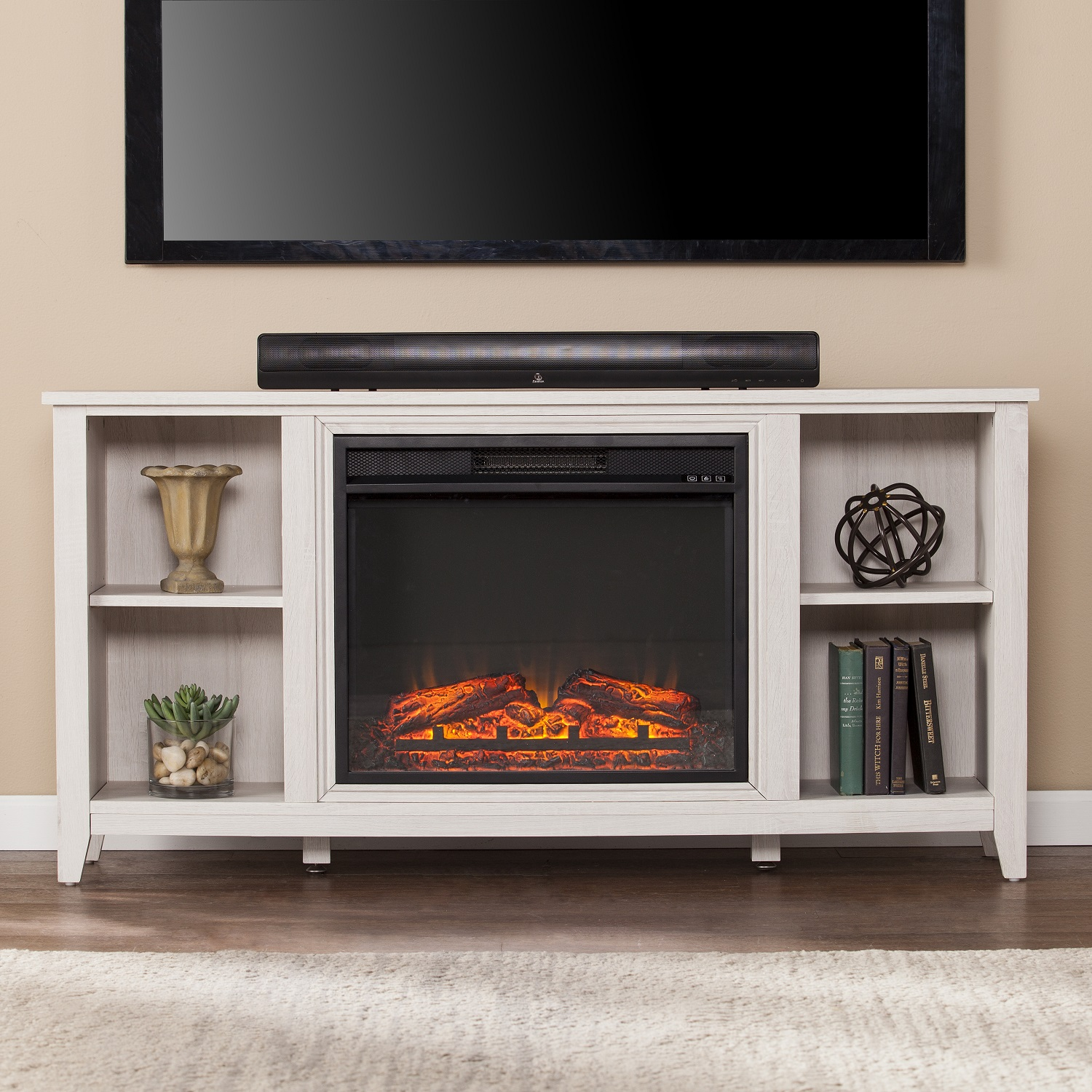 55 1 2 parkdale electric fireplace tv stand white. Black Bedroom Furniture Sets. Home Design Ideas