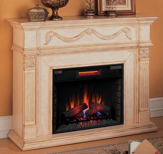 55'' Gossamer Antique Ivory Electric Fireplace - 28WM184-T408