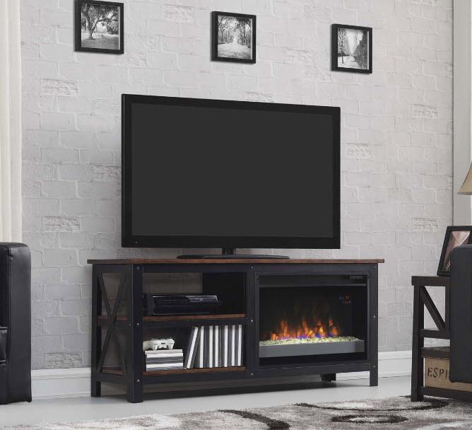 Grainger Old World Brown Media Mantel Electric Fireplace - Mantel electric fireplace