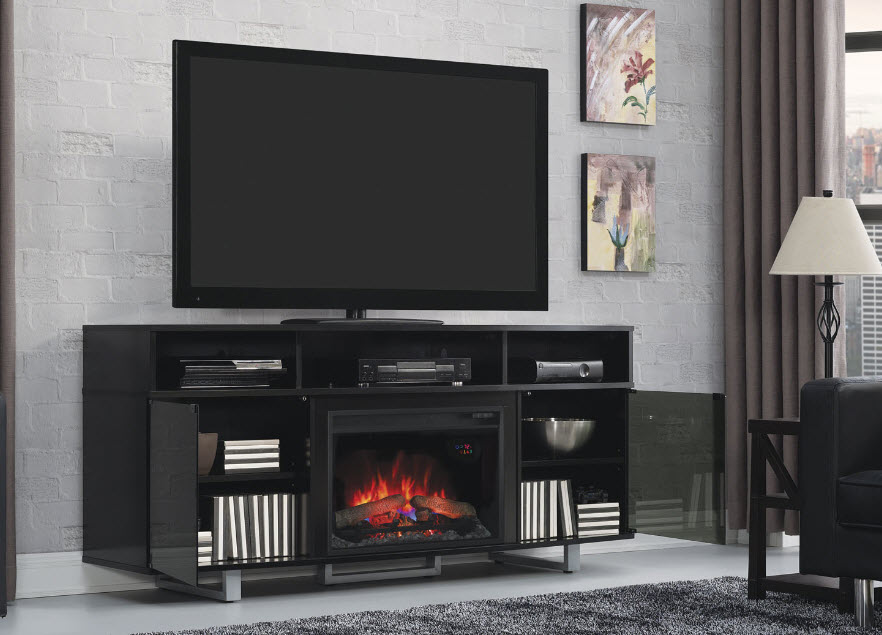 72 quot  enterprise lite high gloss black media mantel electric Entertainment Center with Fireplace Insert Wall Entertainment Centers with Fireplace