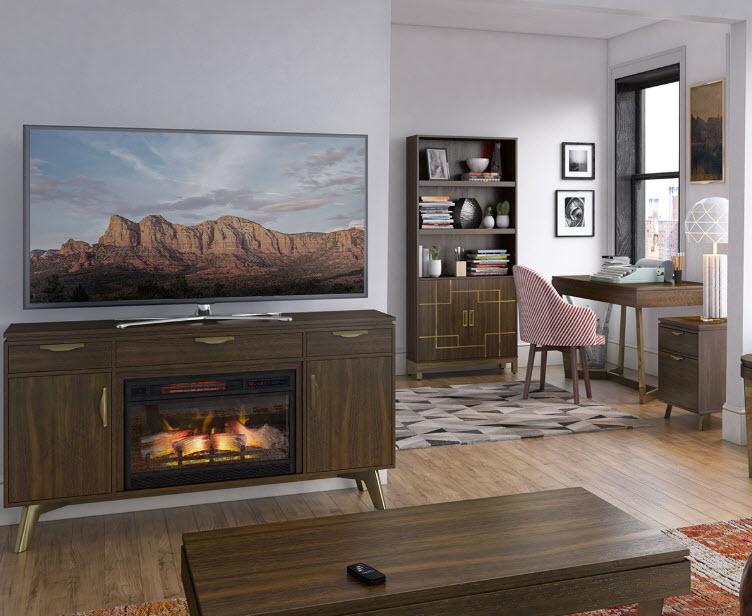 "59"" Modern Dweller Midnight Walnut TV Stand Electric Fireplace"