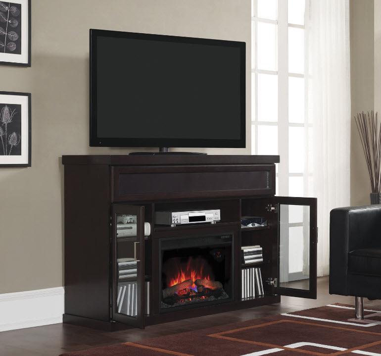 Tenor Espresso Media Mantel Electric Fireplace MMSE - Mantel electric fireplace