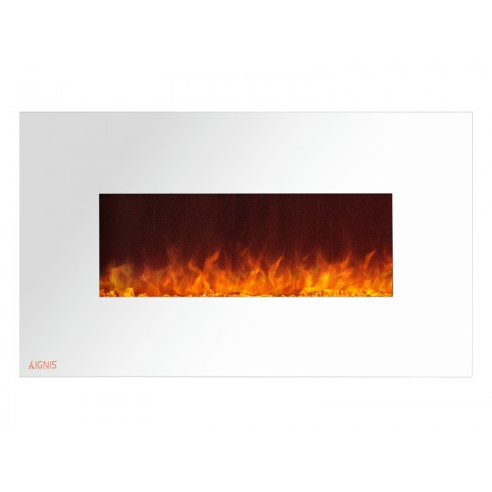 36 Quot Ignis White Royal Electric Wall Fireplace With Crystals