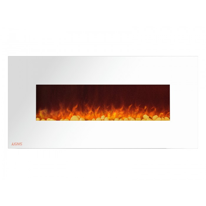 "50"" Ignis White Royal Electric Wall Fireplace With Pebbles"