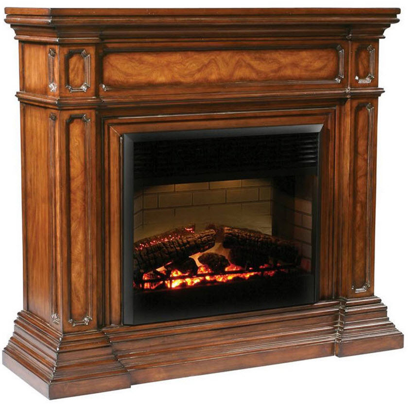 "This beautiful electric fireplace is finished in a rich mahogany with ash burl veneer. The firebox is 30 inches and features an on / off remote control with a thermostat and timer. W:55"" x D:18"" x H:51.5"""