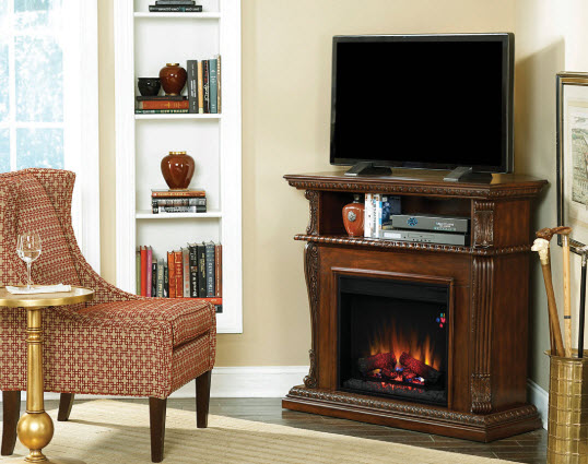 42 39 39 corinth burnished walnut entertainment center wall and corner electric fireplace 23de1447. Black Bedroom Furniture Sets. Home Design Ideas