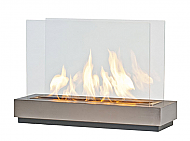 "30"" Preston XL Stainless Steel Modern Fireplace"