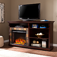 "62"" Gatlinburg Espresso Bookshelf Electric Fireplace - FE9334"