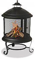24'' Round Black Outdoor Firehouse