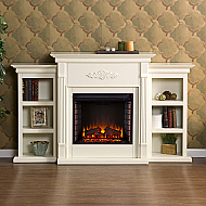 "70.25"" Holly & Martin Fredricksburg Electric Fireplace w/ Bookcases-Ivory"