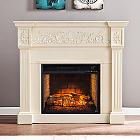 "44.5"" Calvert Carved Infrared Electric Fireplace - Ivory - FI9279"