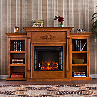 "70.25"" Holly & Martin Fredricksburg Electric Fireplace w/ Bookcases-Glazed Pine"