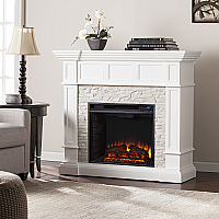 "45.50"" Merrimack Corner Convertible Electric Fireplace - White Faux Stone - FE9638 - FI9638"