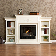 "70.25"" Holly & Martin Fredricksburg Gel Fireplace w/ Bookcases-Ivory"