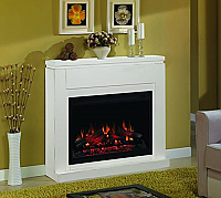 "48"" ClassicFlame Semi-Gloss White Contemporary Design Paintable Builder's Mantel - 36WM1512-T401"