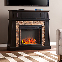 "44.25"" Crestwick Faux Stone Electric Media Fireplace - Black - FE9344"