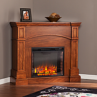 "45.75"" Lantana Corner Convertible Electric Fireplace - Oak Saddle - FE9625"