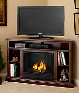 "50.75"" Churchhill Espresso Entertainment Center Corner Gel Fireplace"