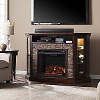 "52.25"" Redden Corner Convertible Electric Media Fireplace - Espresso Faux Stone - FE9392 - FI9392"