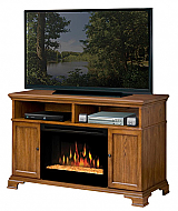 "52.75"" Dimplex Brookings Oak Glass Entertainment Center Fireplace"