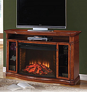 "62.1"" Alpine Media Burnished Pecan Electric Fireplace"