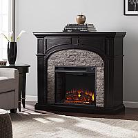 """45.75"""" Tanaya Electric Fireplace - Ebony w/ Gray Stacked Stone - FE9620 - FI9620"""