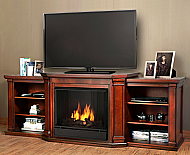 "75.5"" Valmont Dark Mahogany Entertainment Center Gel Fireplace"