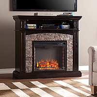 "45.5"" Grantham Faux Stone Corner Electric Media Fireplace - Ebony - FE9359"