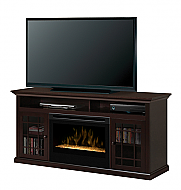 "62"" Dimplex Hazelwood Espresso Glass Entertainment Center Fireplace"