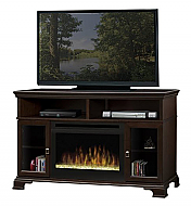 "52.75"" Dimplex Brookings Espresso Glass Entertainment Center Fireplace"