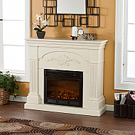 "44.75"" Holly & Martin Salerno Electric Fireplace-Ivory"