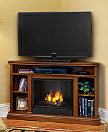 "50.75"" Churchchill Oak Entertainment Center Corner Gel Fireplace"