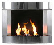 "29"" Stainless Steel Wall Mount Fireplace"