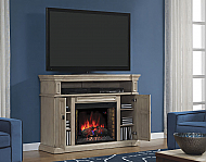 "58"" Wyatt Soft White Grey Media Mantel Electric Fireplace - 28MM4684-T477"