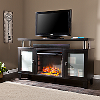 "60"" Cabrini Black Media Fireplace - FE9348"