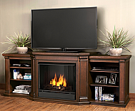 "75.5"" Valmont Chestnut Oak Entertainment Center Gel Fireplace"