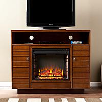 "48"" Lancaster Dark Tobacco/Espresso Media Electric Fireplace - FE9320"