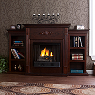 "70.25"" Holly & Martin Fredricksburg Gel Fireplace w/ Bookcases-Espresso"