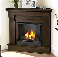 "40.94"" Chateau Dark Walnut Corner Gel Fireplace"