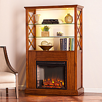 "40"" Gentry Electric Fireplace Curio Tower - Oak Saddle - FE9837"