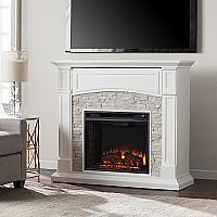 "45.75"" Seneca Electric Media Fireplace - White w/ White Faux Stone - FE9362 - FI9362"