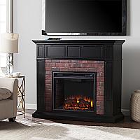 "45.50"" Kyledale Faux Brick Electric Media Fireplace - Satin Black w/Faux Red Brick - FE9380 - FI9380"