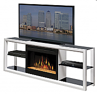 "64"" Dimplex Novara White Glass Entertainment Center Fireplace"