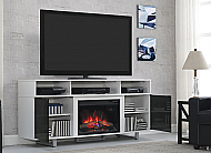 "72"" Enterprise Lite High Gloss White Media Mantel Electric Fireplace - 26MM9665-NW145"