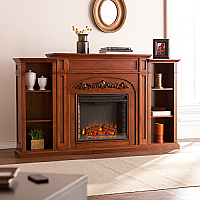 "72.5"" Chantilly Bookcase Electric Fireplace - Autumn Oak - FE8532"